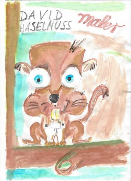 David Haselnuss ist ein malerndes Eichhörnchen